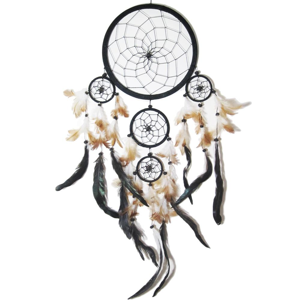 dream catcher attrape r ve noir plumes noires et 5 cercles. Black Bedroom Furniture Sets. Home Design Ideas