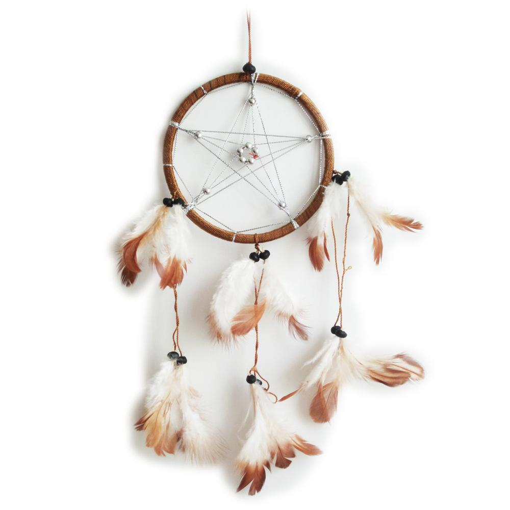 dream catcher - attrape rêve pentagramme marron clair