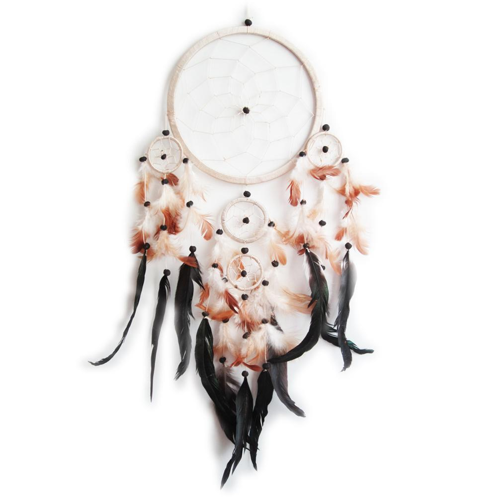 Dream catcher attrape r ve plumes noires et 5 cercles - Cercle attrape reve ...