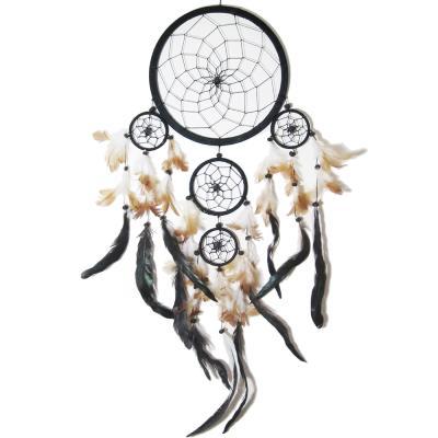 dream catcher attrape r ve noir plumes noires et 5 cercles. Black Bedroom Furniture Sets. Home Design Ideas