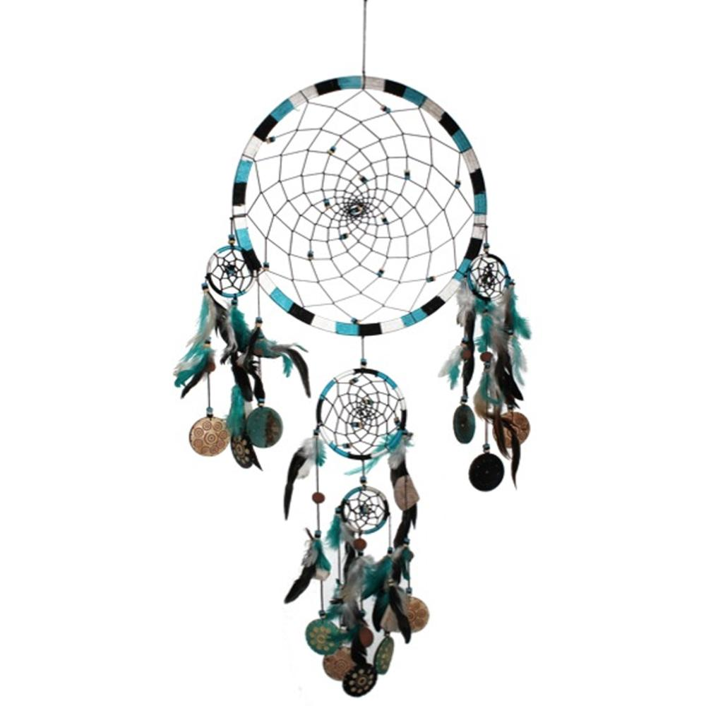dream catcher attrape r ve 5 cercles turquoise grand mod le. Black Bedroom Furniture Sets. Home Design Ideas