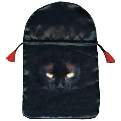Bourse satin Chat Noir - 15,3 x 23 cm