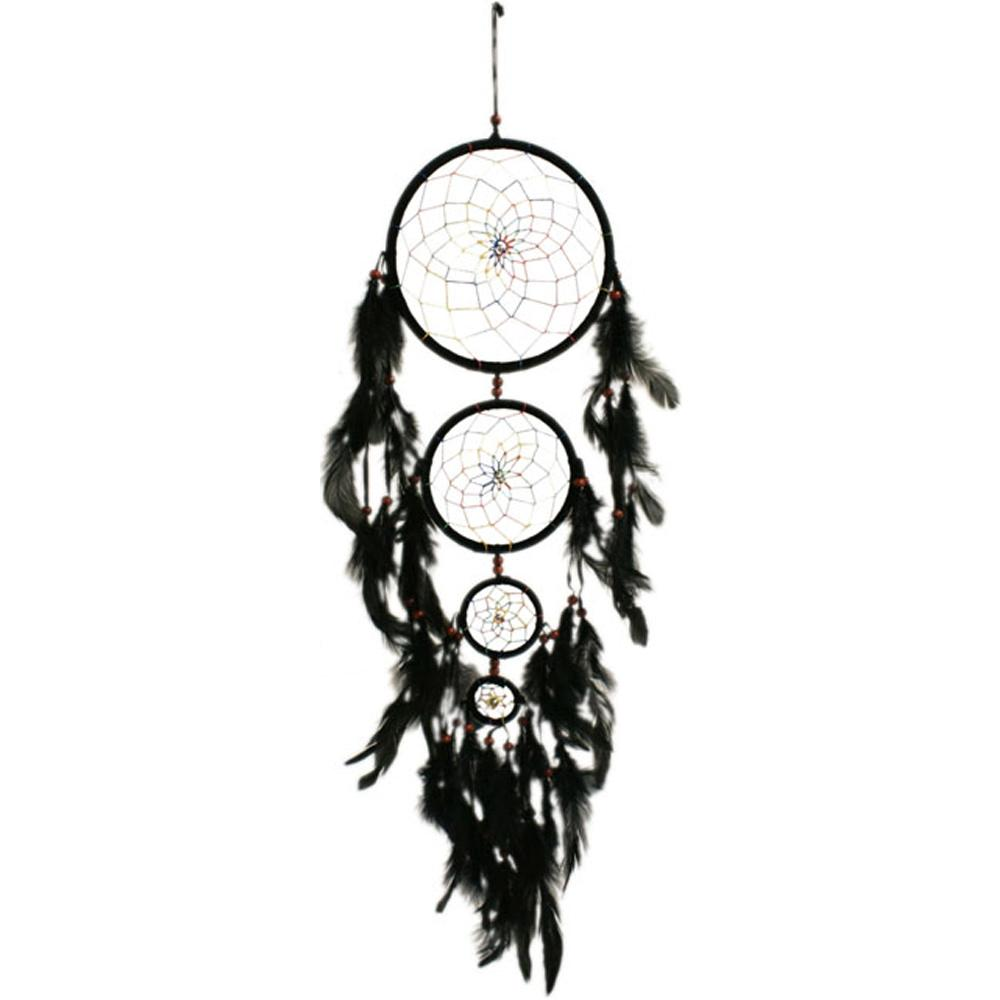 dream catcher attrape r ve 4 cercles noir. Black Bedroom Furniture Sets. Home Design Ideas