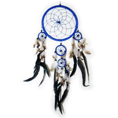 dream catcher attrape r ve bleu plumes noires et 5 cercles. Black Bedroom Furniture Sets. Home Design Ideas